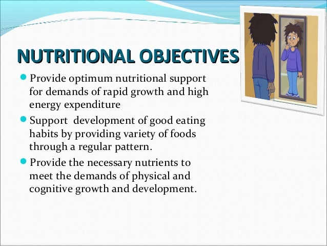 NUTRITIONAL OBJECTIVESNUTRITIONAL OBJECTIVES Provide adequate stores for illness or pregnancy. Prevent adult onset of di...
