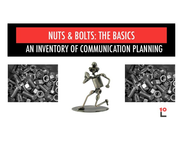 NUTS & BOLTS: THE BASICSAN INVENTORY OF COMMUNICATION PLANNING