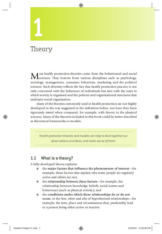 1 Theory Most health promotion theories come from the behavioural and social sciences. They borrow from various discipline...