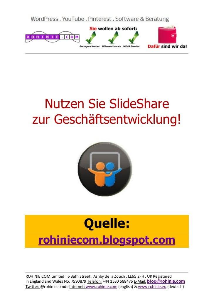 Nutzen Sie SlideShare  ...