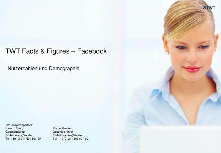 TWT Facts & Figures – Facebook<br />Nutzerzahlen und Demographie<br />Ihre Ansprechpartner: <br />Hans J. Even, <br />Gesc...