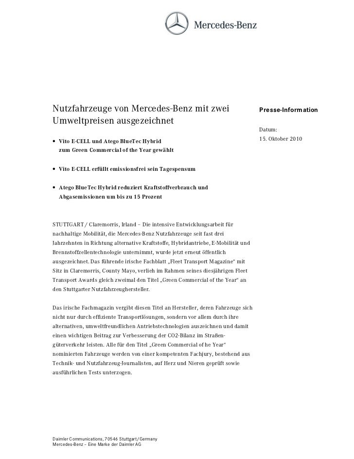 Nutzfahrzeuge von Mercedes-Benz mit zwei                                           Presse-InformationUmweltpreisen ausgeze...