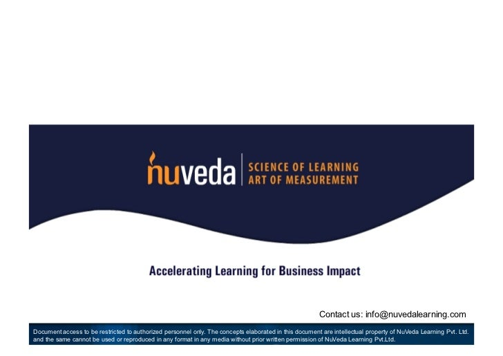 Contact us: info@nuvedalearning.comDocument access to be restricted to authorized personnel only. The concepts elaborated ...