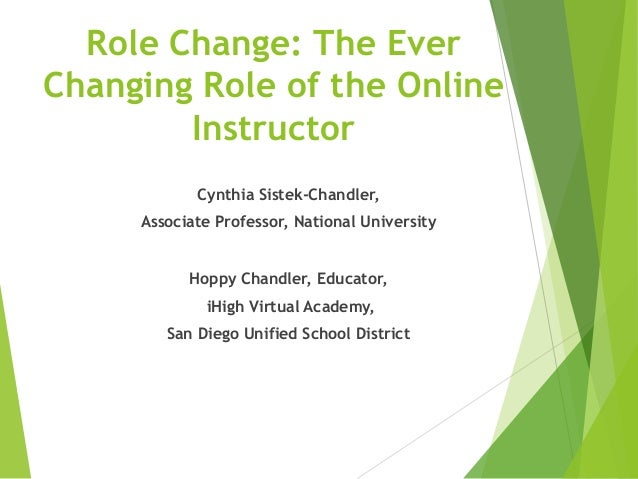 Role Change: The Ever Changing Role of the Online Instructor Cynthia Sistek-Chandler, Associate Professor, National Univer...