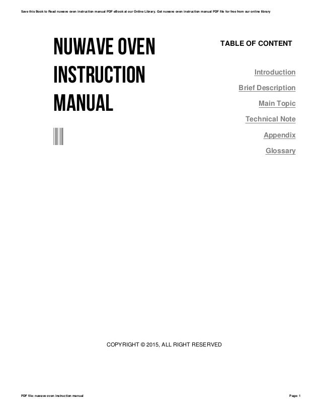 Nuwave oven instruction manual