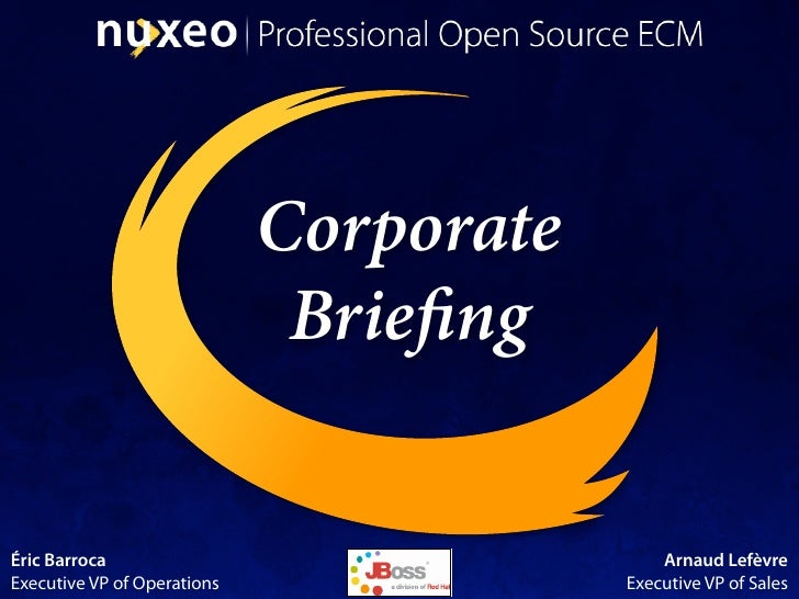 Corporate                               Brie ng   Éric Barroca                                 Arnaud Lefèvre Executive VP...