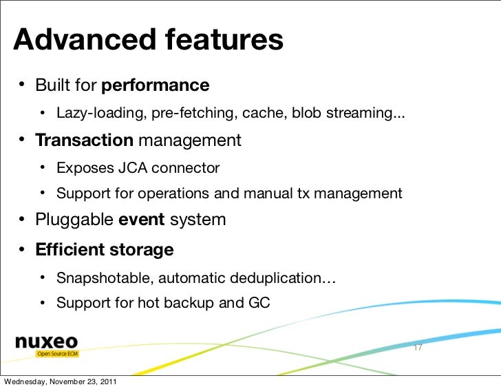 Advanced features      Built for performance           Lazy-loading, pre-fetching, cache, blob streaming...      Transa...