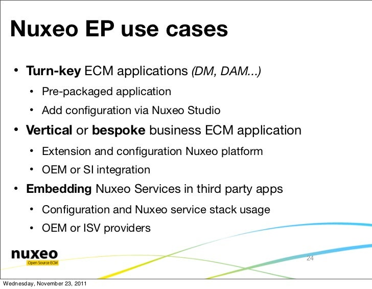Nuxeo EP use cases      Turn-key ECM applications (DM, DAM...)           Pre-packaged application           Add configur...