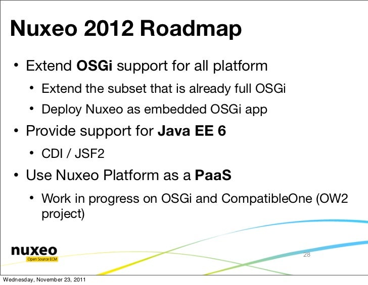 Nuxeo 2012 Roadmap      Extend OSGi support for all platform           Extend the subset that is already full OSGi      ...