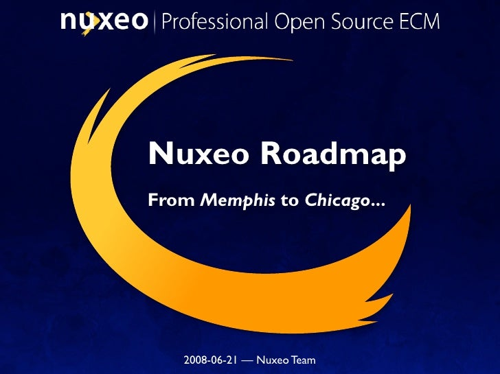 Nuxeo Roadmap From Memphis to Chicago...        2008-06-21 — Nuxeo Team