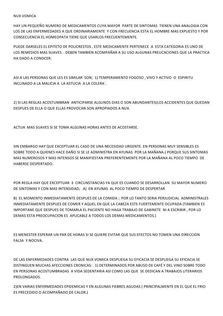 NUX VOMICA  HAY UN PEQUEÑO NUMERO DE MEDICAMENTOS CUYA MAYOR PARTE DE SINTOMAS TIENEN UNA ANALOGIA CON LOS DE LAS ENFERMED...