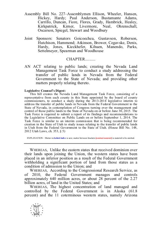 Assembly Bill No. 227–Assemblymen Ellison, Wheeler, Hansen, Hickey, Hardy; Paul Anderson, Bustamante Adams, Carrillo, Dunc...