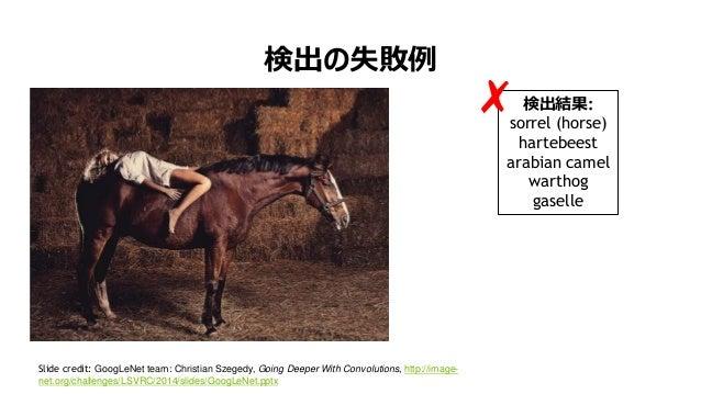 17 検出の失敗例 Slide credit: GoogLeNet team: Christian Szegedy, Going Deeper With Convolutions, http://image- net.org/challenge...
