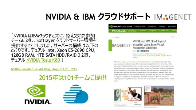 20 NVIDIA & IBM クラウドサポート 2015年は101チームに提供 「NVIDIA はIBMクラウドと共に、認定された参加 チームに対し、Softlayer クラウドサーバー環境を 提供することにしました。サーバーの構成は以下の ...