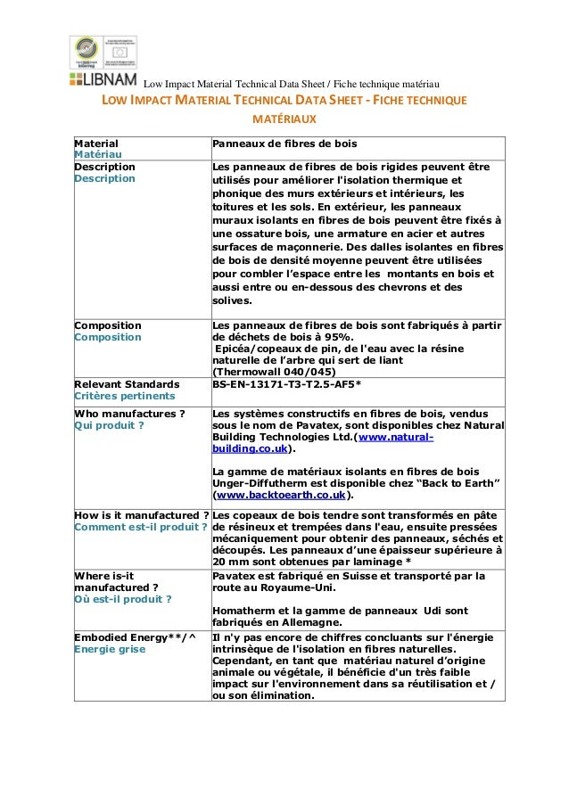 Low Impact Material Technical Data Sheet / Fiche technique matériau LOW IMPACT MATERIAL TECHNICAL DATA SHEET - FICHE TECHN...