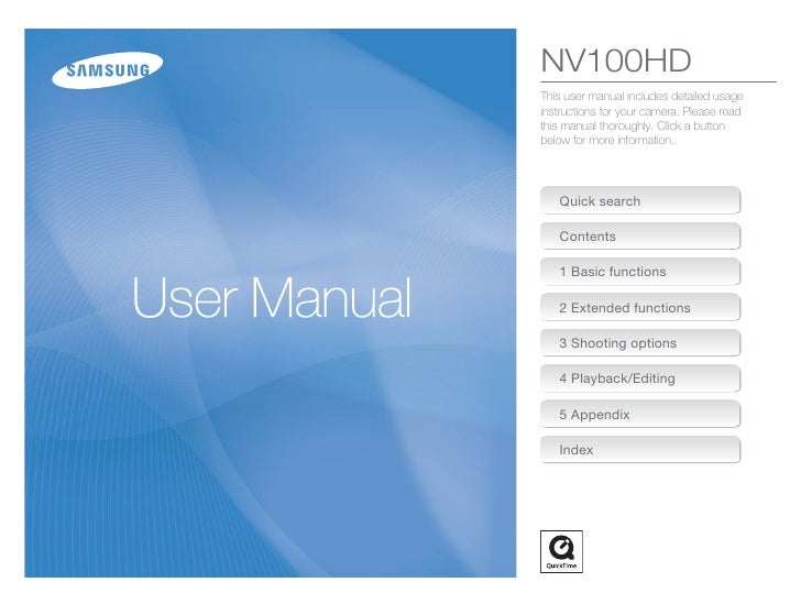NV100HD This user manual includes detailed usage instructions for your camera. Please read this manual thoroughly. Click a...