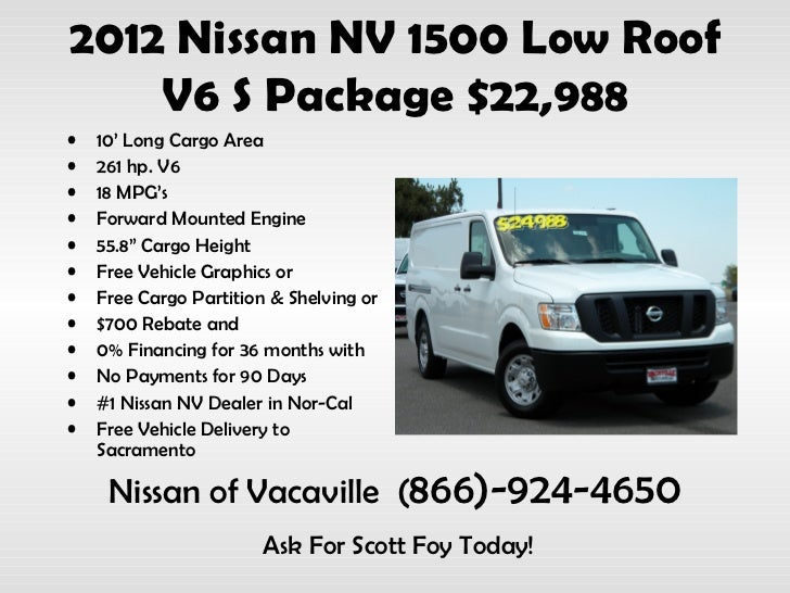 2012 nissan nv 1500 low roof v6 s package 22988 10 long cargo area