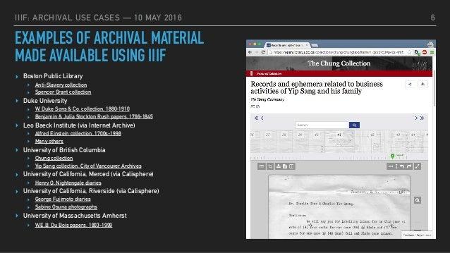 IIIF: Archival Use Cases
