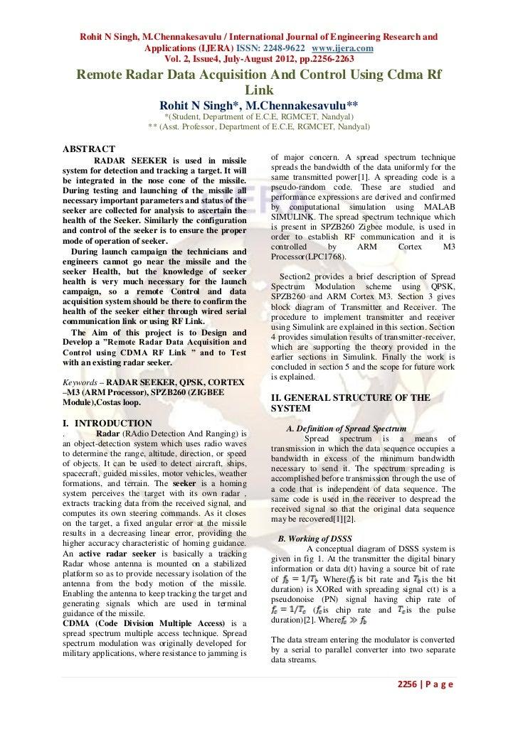 Rohit N Singh, M.Chennakesavulu / International Journal of Engineering Research and                   Applications (IJERA)...