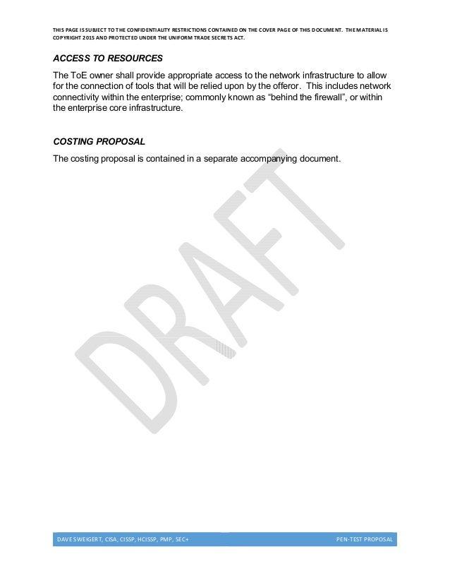 Penetration testing proposal