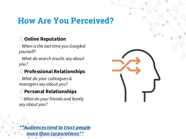 How Are You Perceived? ◎Online Reputation ○When is the last time you Googled yourself? ○What do search results say about y...