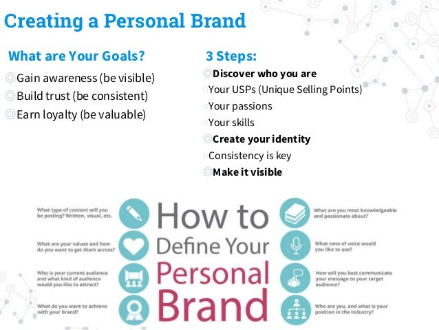Creating a Personal Brand What are Your Goals? ◎Gain awareness (be visible) ◎Build trust (be consistent) ◎Earn loyalty (be...