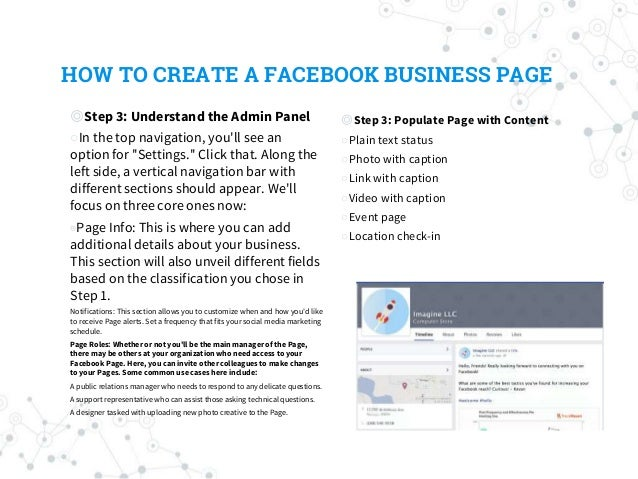 HOW TO CREATE A FACEBOOK BUSINESS PAGE ◎Step 3: Understand the Admin Panel ○In the top navigation, you'll see an option fo...