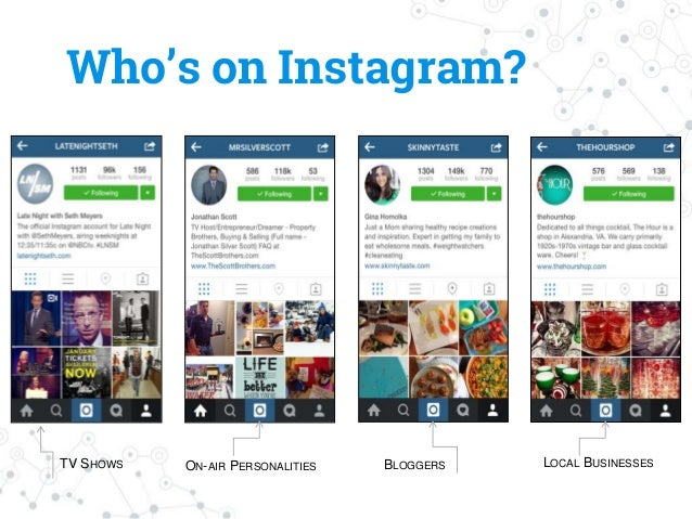 Who's on Instagram? TV SHOWS ON-AIR PERSONALITIES BLOGGERS LOCAL BUSINESSES
