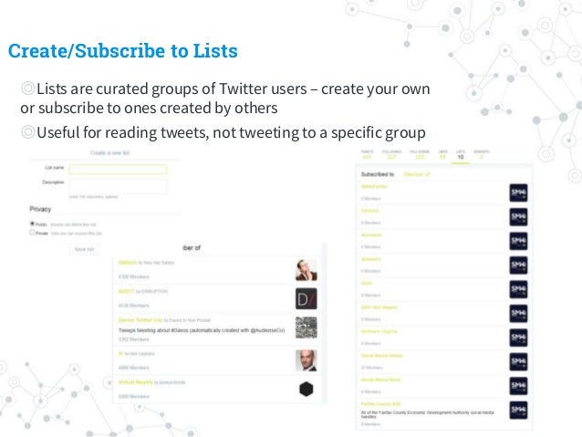 Create/Subscribe to Lists ◎Lists are curated groups of Twitter users – create your own or subscribe to ones created by oth...