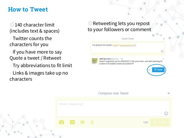 How to Tweet ◎140 character limit (includes text & spaces) ○Twitter counts the characters for you ○If you have more to say...