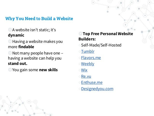 Why You Need to Build a Website ◎A website isn't static; it's dynamic ◎Having a website makes you more findable ◎Not many ...