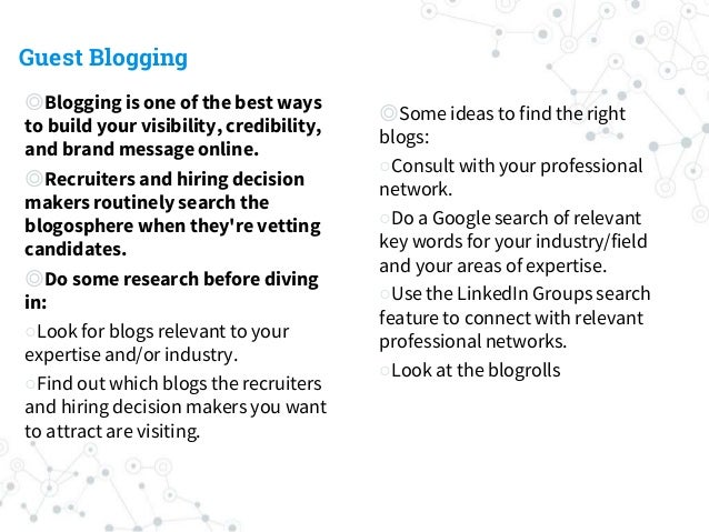 Guest Blogging ◎Blogging is one of the best ways to build your visibility, credibility, and brand message online. ◎Recruit...