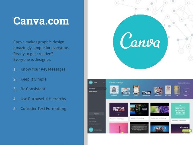 Canva.com Canva makes graphic design amazingly simple for everyone. Ready to get creative? Everyone is designer. 1. Know Y...