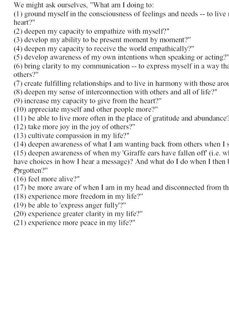 Nvc questions to ask myself