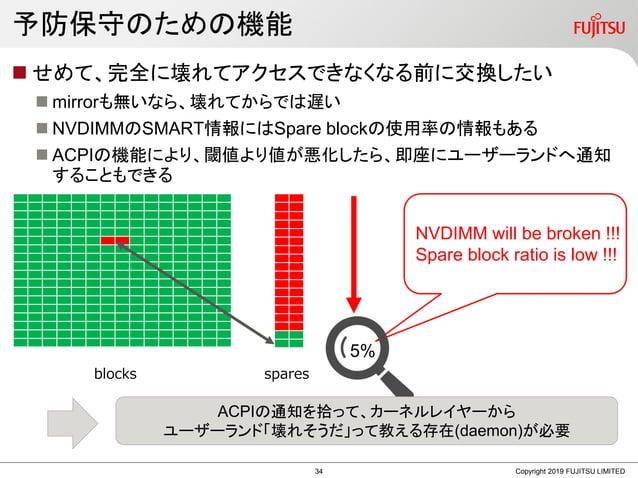 予防保守のための機能  せめて、完全に壊れてアクセスできなくなる前に交換したい  mirrorも無いなら、壊れてからでは遅い  NVDIMMのSMART情報にはSpare blockの使用率の情報もある  ACPIの機能により、閾値より...