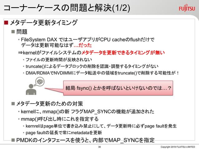 コーナーケースの問題と解決(1/2)  メタデータ更新タイミング  問題 • FileSystem DAX ではユーザアプリがCPU cacheのflushだけで データは更新可能なはず…だった ⇒kernelがファイルシステムのメタデータ...