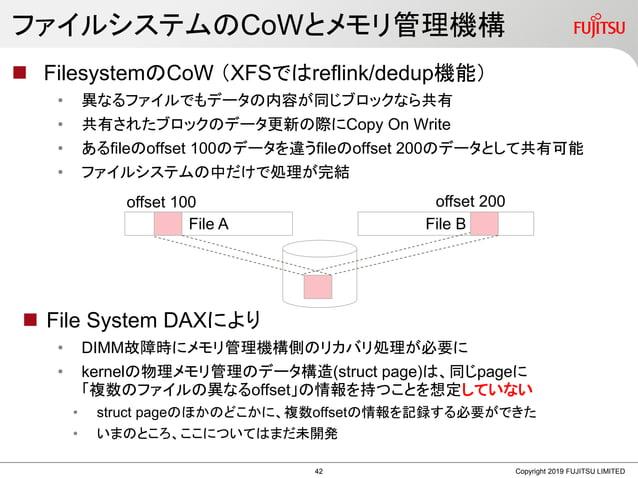 ファイルシステムのCoWとメモリ管理機構  FilesystemのCoW (XFSではreflink/dedup機能) • 異なるファイルでもデータの内容が同じブロックなら共有 • 共有されたブロックのデータ更新の際にCopy On Writ...