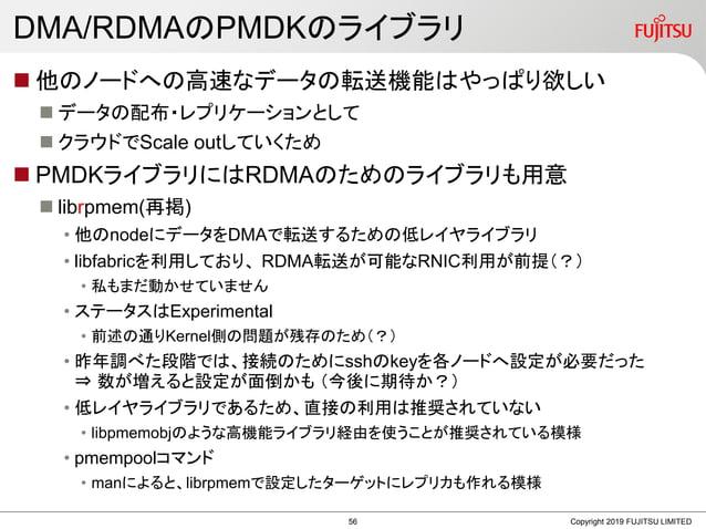DMA/RDMAのPMDKのライブラリ  他のノードへの高速なデータの転送機能はやっぱり欲しい  データの配布・レプリケーションとして  クラウドでScale outしていくため  PMDKライブラリにはRDMAのためのライブラリも用意...