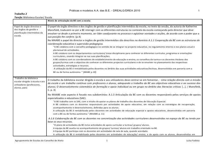 Práticas e modelos A.A. das B.E. - DREALG/DREA 2010                                                                       ...