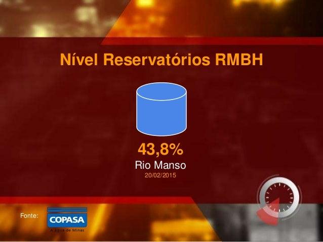Fonte: Nível Reservatórios RMBH 43,8% Rio Manso 20/02/2015