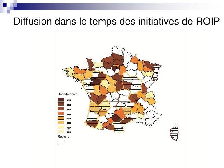 Diffusion dans le temps des initiatives de ROIP          Départements          Régions