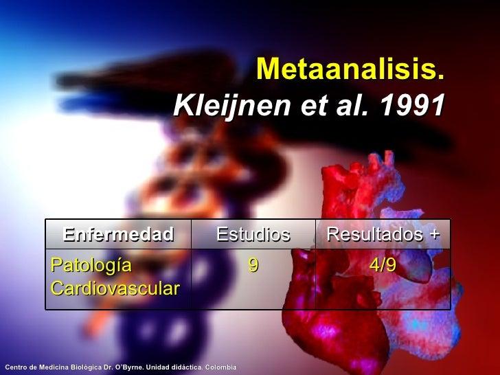 Metaanalisis. Kleijnen et al. 1991 Enfermedad Estudios Resultados + Patología Cardiovascular 9 4/9