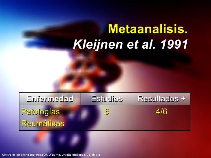 Metaanalisis. Kleijnen et al. 1991 Enfermedad Estudios Resultados + Patologías Reumáticas 6 4/6