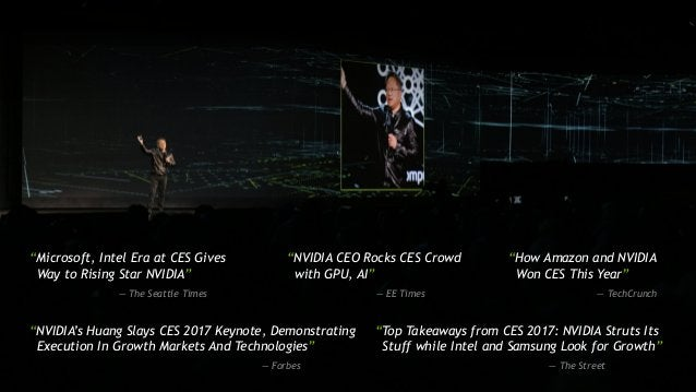 """[ TITLE ] """"Microsoft, Intel Era at CES Gives Way to Rising Star NVIDIA"""" — The Seattle Times """"NVIDIA CEO Rocks CES Crowd wi..."""