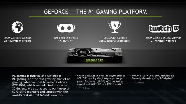 """"""" NVIDIA is looking to level the playing field at CES 2017, opening the floodgate for budget gamers by finally officially ..."""