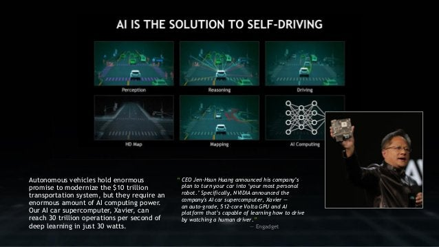 """9 """" CEO Jen-Hsun Huang announced his company's plan to turn your car into 'your most personal robot.' Specifically, NVIDIA..."""
