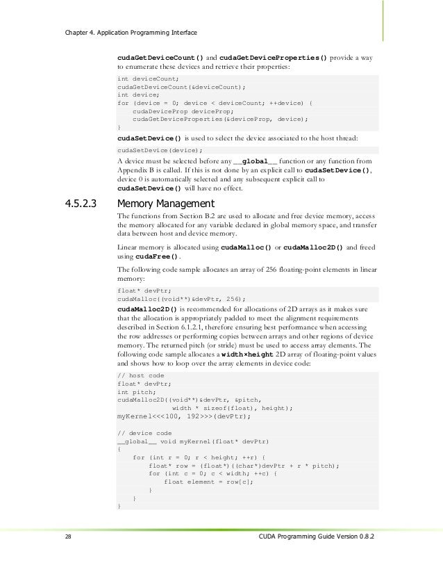 Chapter 4. Application Programming Interface                option), the device code is compiled for and runs on the host,...