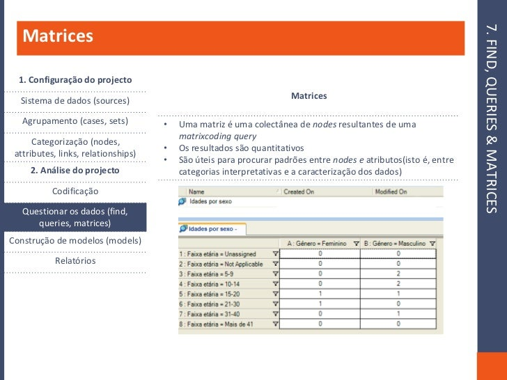 7. FIND, QUERIES & MATRICES    Matrices    1. Configuração do projecto                                                    ...