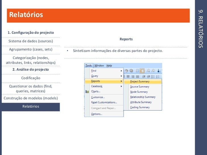 9. RELATÓRIOS    Relatórios    1. Configuração do projecto                                                                ...
