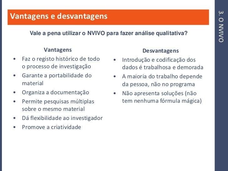 3. O NVIVO Vantagens e desvantagens        Vale a pena utilizar o NVIVO para fazer análise qualitativa?               Vant...
